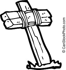 houten, kruis, spotprent