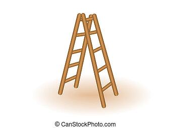 houten ladder, vector, illustratie