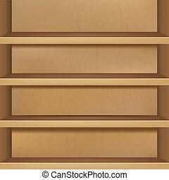 houten, lege, boekenplank