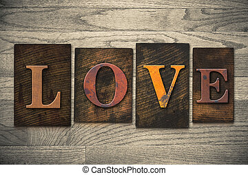 houten, liefde, concept, type, letterpress