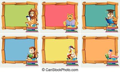 houten, lijstjes, boekjes , dieren, lezende