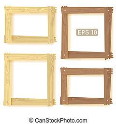houten, lijstjes, set, afbeelding