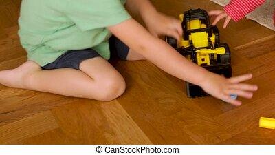 houten, machine, kind gespeel, vloer