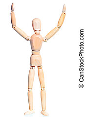 houten, man, met, hands verheven, op wit, achtergrond