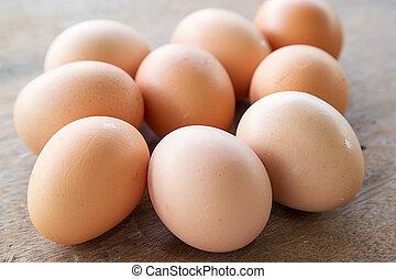 houten, mand, eitjes, tafel