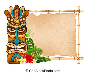 houten masker, bamboe, signboard, tiki