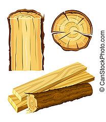 houten, materiaal, hout, en, plank