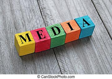 houten, media, blokje, woord, kleurrijke