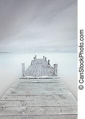 houten, meer, bewolkt, mood., nevelig, pijler