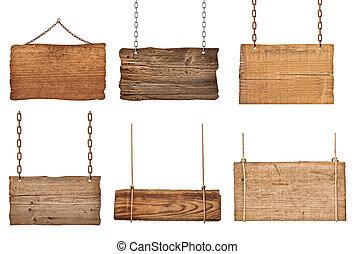 houten, meldingsbord, achtergrond, boodschap, koord, ketting, hangend