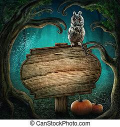 houten, meldingsbord, in, de, halloween, bos