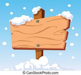 houten, meldingsbord, in, sneeuw