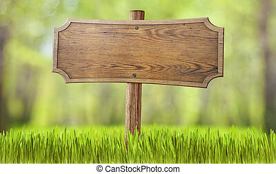 houten, meldingsbord, in, zomer, bos, gras
