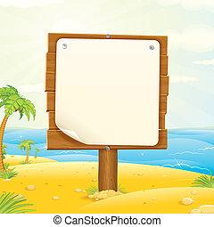 houten, meldingsbord, met, leeg, papier, op, de, tropisch strand