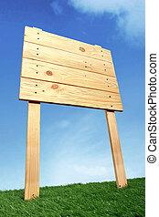 houten, meldingsbord, onder, de, blauwe hemel