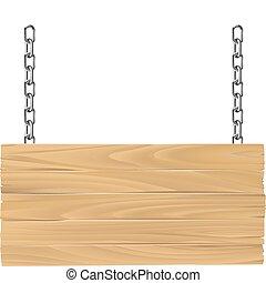 houten, meldingsbord, op, kettingen, illustratie