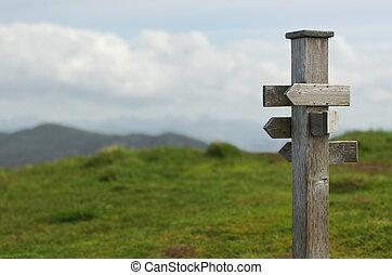 houten, meldingsbord, oud, natuur