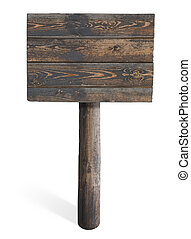 houten, meldingsbord, vrijstaand, op wit
