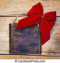 houten, metaal voorteken, roestige , rode tafel, lint