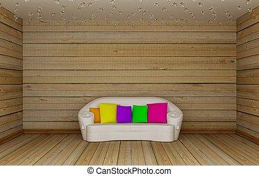 houten, minimalist, kamer, levend