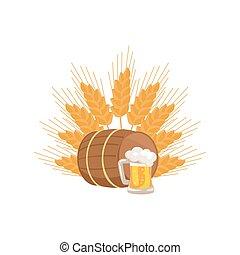 houten, mok, bier, vector, vat, drank