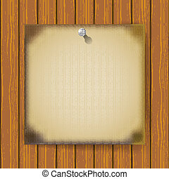 houten muur, aangebrand, papier, blad
