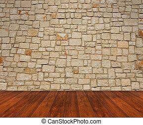 houten muur, aarden verdieping