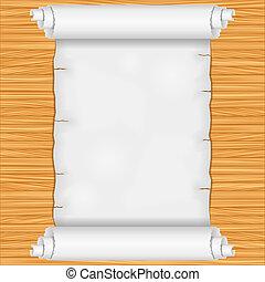 houten muur, boekrol