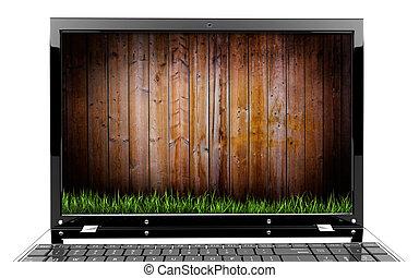 houten muur, draagbare computer, gras