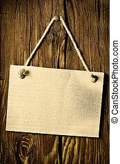 houten muur, papierbord, hangend
