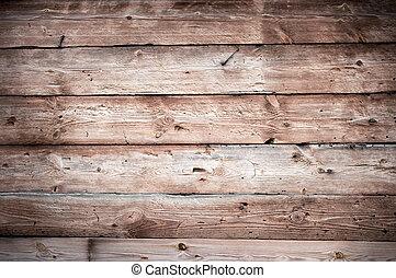 houten muur, textuur, met, horizontaal, raad