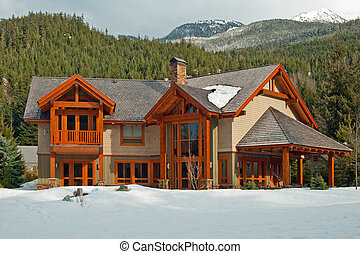 houten, nieuw, amerikaanse droom, thuis