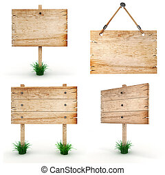 houten, -, ondertekenen plank, leeg, 3d, troep