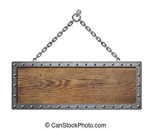 houten, ondertekenen plank, met, metaal ketting, vrijstaand