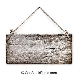 houten, op, back, koord, hangend, afsluiten, witte , ...