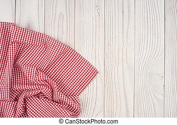 houten, op, ineengevouwen , gebleekte, tafelkleed, tafel., rood
