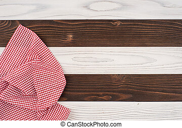 houten, op, ineengevouwen , tafelkleed, tafel., rood