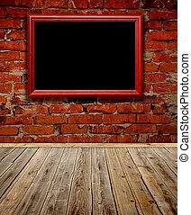 houten, oud, frame, grunge, kamer