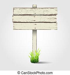 houten, oud, signboard