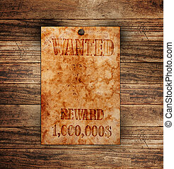 houten, ouderwetse , gevraagd, muur, poster