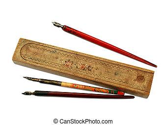 houten, ouderwetse , pen-case, pennen