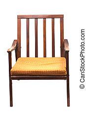 houten, ouderwetse , sofa, vrijstaand, op wit, achtergrond