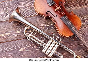 houten, ouderwetse , trompet, cello, achtergrond.