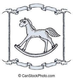 houten paard, speelbal, kerstmis kaart