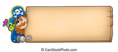 houten, paneel, met, zeerover