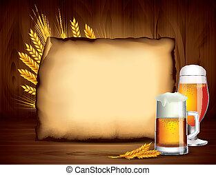 houten, papier, bier, vector, achtergrond, lege