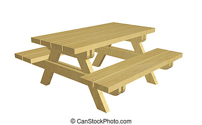 houten, picknicklijst, illustratie, 3d