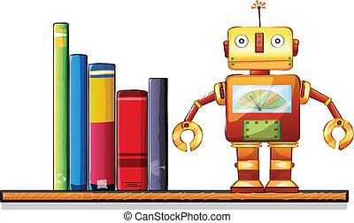 houten, plank, boekjes , robot
