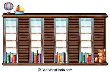 houten, plank, boekjes , speelgoed