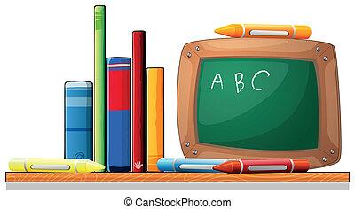 houten, plank, crayons, plank, boekjes